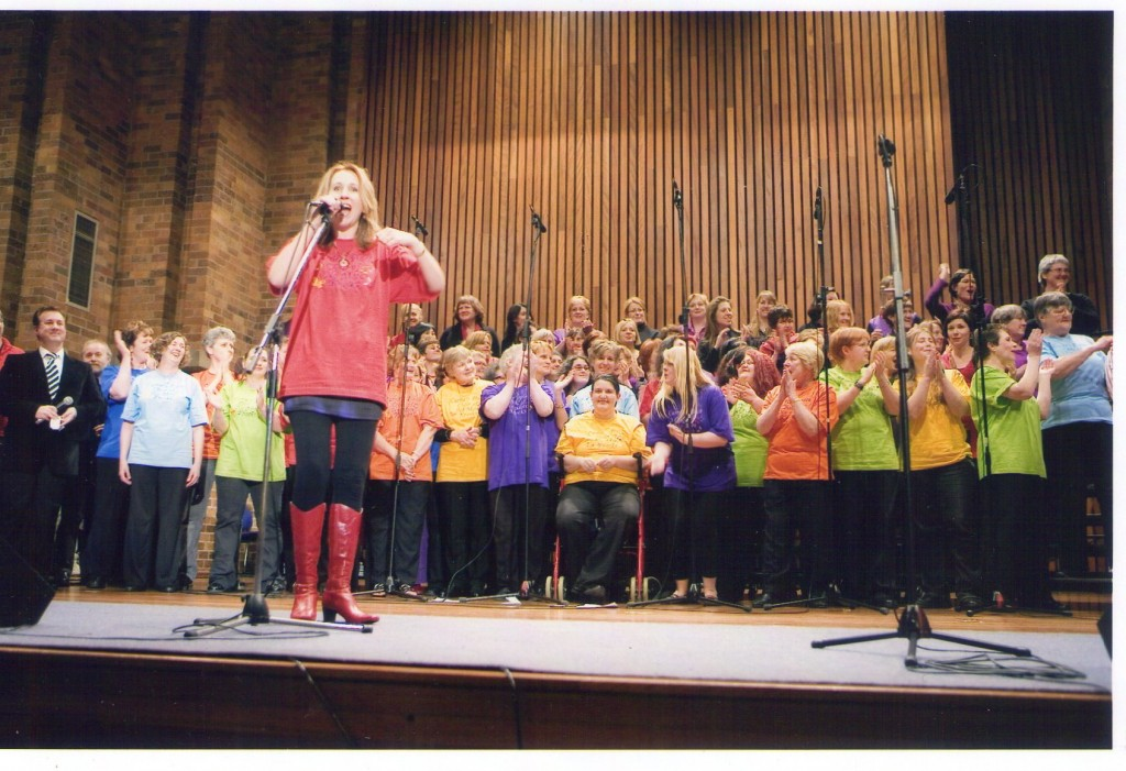Jacki's combined choirs with Jonathon Welch at Newcastle University Great Hall