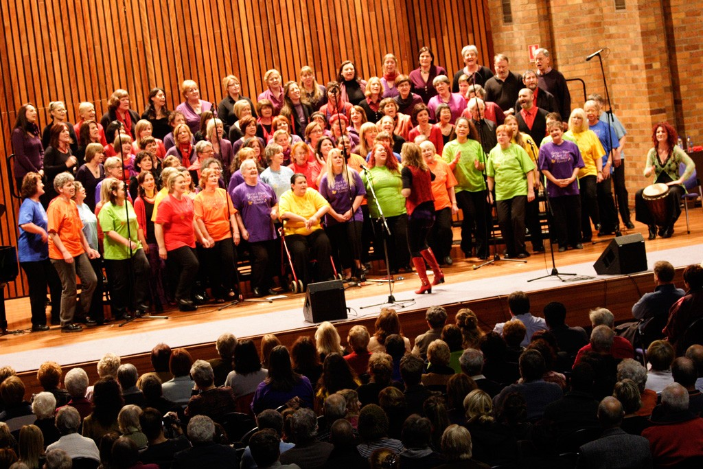 Combined SingwithJacki groups performing at the Great Hall